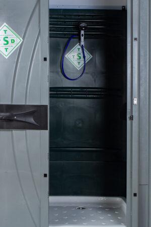 Mobiele douchecabine binnenkant met deur